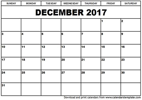 december calendar templates december 2017 calendar printable template with holidays
