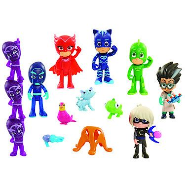pj masks figures pj masks deluxe 16 figure set the entertainer