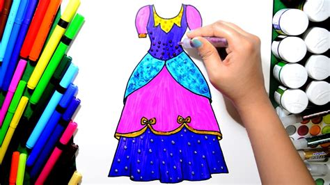 draw and color draw and color princess dress coloring page and learn