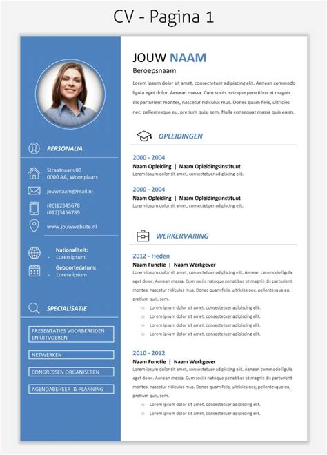 layout nederlands 17 best images about cv templates downloaden on pinterest