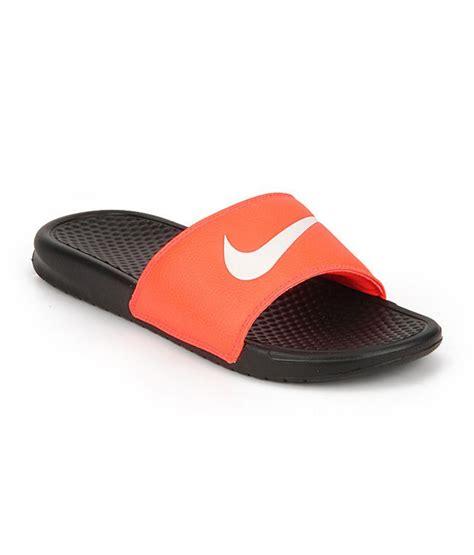nike benassi swoosh slippers nike benassi swoosh orange black slippers price in india