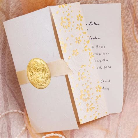 Wedding Invitations Unique Folds by Tri Fold Golden Flowers And Ribbon Wedding Invitations