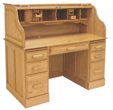 54 Quot W Deluxe Solid Oak Roll Top Desk Roll Top Office Desk