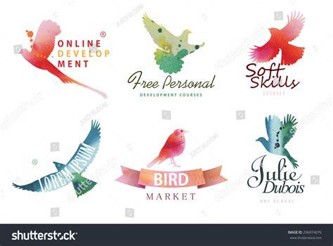 watercolor logo tutorial illustrator watercolor logo templates colorful birds silhouettes stock