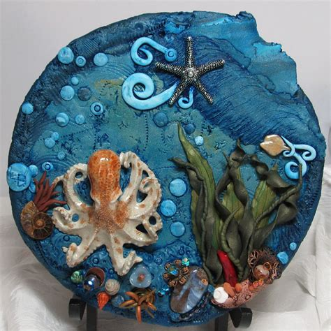 Handmade Artists Shop - polymer clay plate with ceramic octopus on