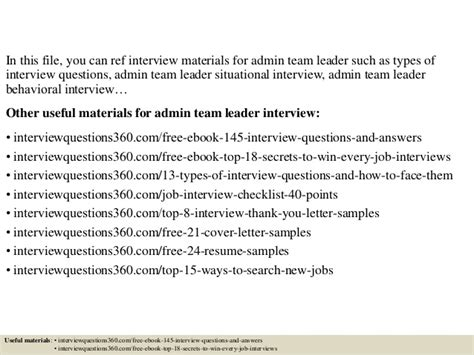top 10 admin team leader questions and answers