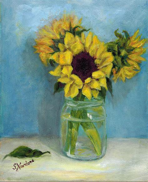 acrylic painting jars sunflowers in jar painting by nardone