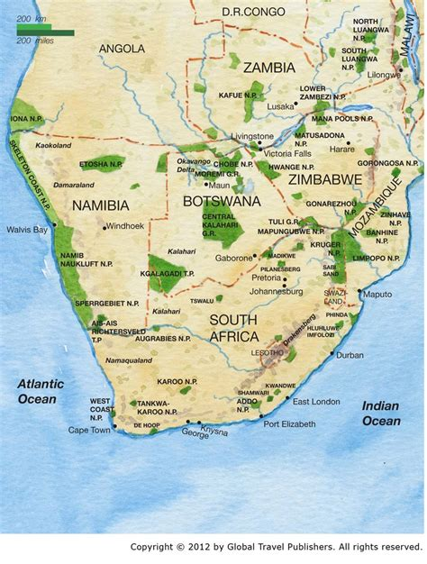 southern africa map southern africa combo best safari tours