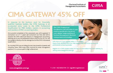 Cima Exemptions For Mba by Cima Gateway Route At 45 Discount