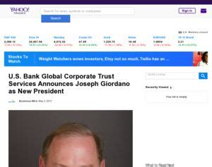 us bank banking service u s bank global corporate trust services announces joseph