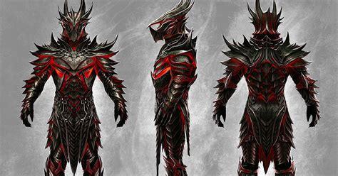 skyrim daedric armor and weapons art of ray lederer tesv skyrim daedric armour and