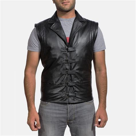 biker jacket vest mens desperado black leather vest