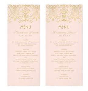 sle menu card gold vintage glam wedding dinner menu