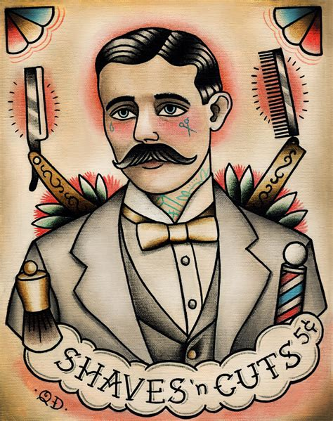 tattoo old school vintage flash paintings by quyen dinh new barber print on etsy