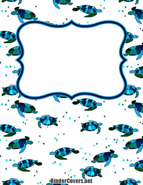 easy printable binder covers printable sea turtle binder cover