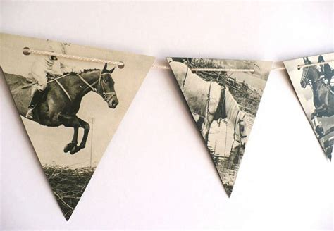 vintage horse room decor horse decorating for the home horses garland vintage paper bunting handmade from black