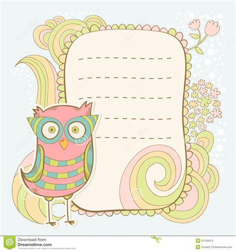 Decorative Bird House Plans Cute Cartoon Owl Invitation Fcard Stock Photos Image