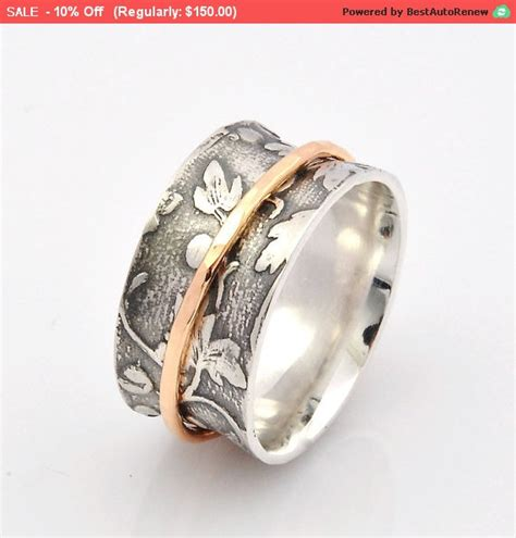 Spinner Motif 5 spinner ring leaf motif ring and solid handmade 9ct gold