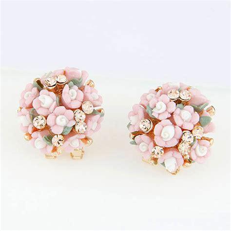 Rhinestone Flower Stud Earrings rhinestone pink flower stud earrings fashioncrab