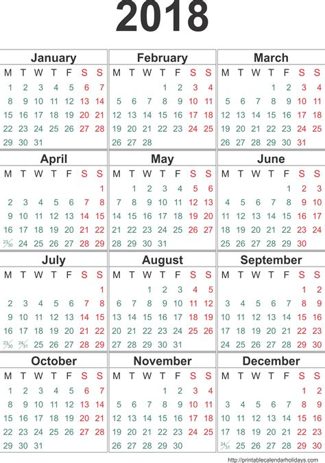 Year Calendar Template yearly calendar 2018 weekly calendar template