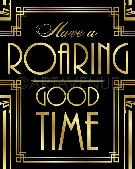 quotes of themes in the great gatsby gatsby decor sign roaring good time quote by