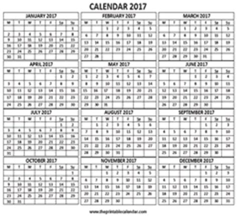 1 Year Calendar On One Page 2017 - 2017 calendar one page 1 page calendar 2017