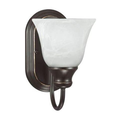 White Bathroom Sconce Sea Gull Lighting Windgate 1 Light Heirloom Bronze Wall