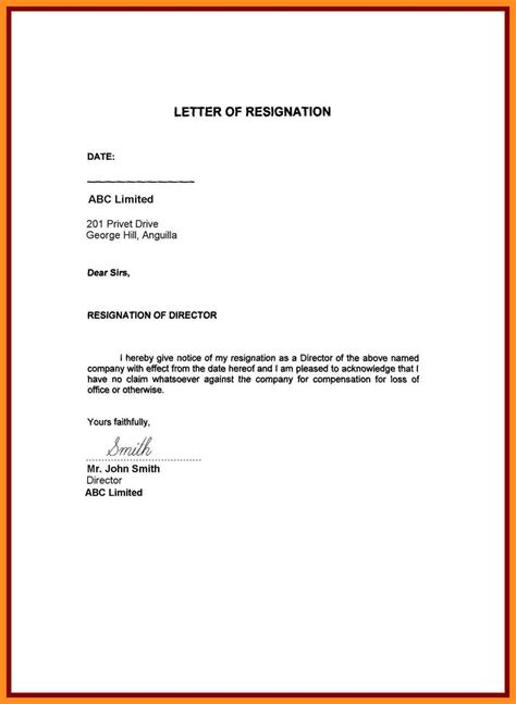 My Resignation Letter by 9 Resignation Letter Format For Personal Reason Mystock Clerk