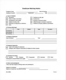 employee warning template 6 warning notice templates free sles exles
