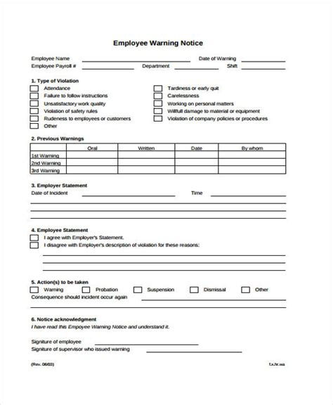 employee warning notice template a2311 employee warning