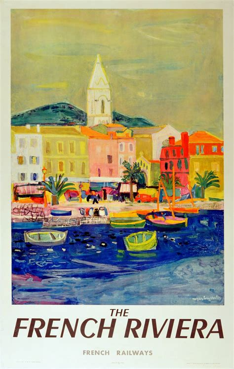 cannes riviera vintage travel poster roger bezombes original vintage travel advertising