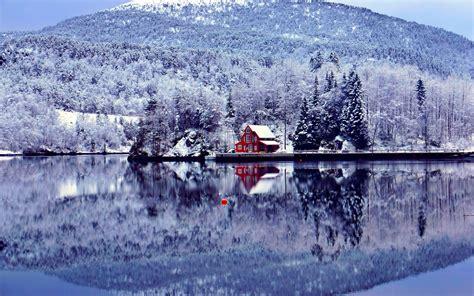 winter houses lakehouse in winter wallpaper