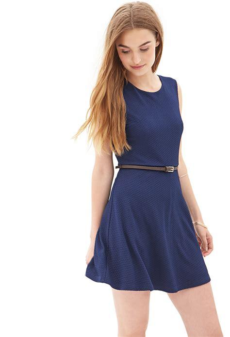 knit skater dress forever 21 textured knit skater dress in blue navy lyst