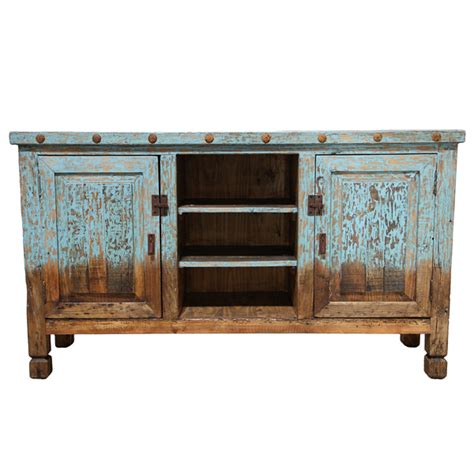 flat screen tv stand entertainment center blue painted western real solid wood ebay