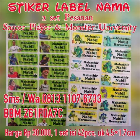Sticker Nama Waterproof jual sticker label nama stiker label nama