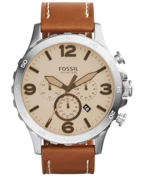 fossil idealist light brown leather watch fossil men s chronograph nate light brown leather strap