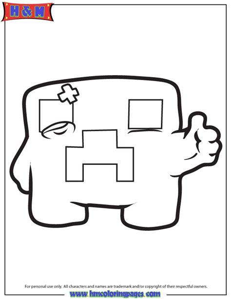 minecraft creeper thumbs up coloring page h m coloring