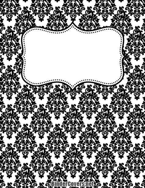 black and white notebook pattern printable black and white damask binder cover