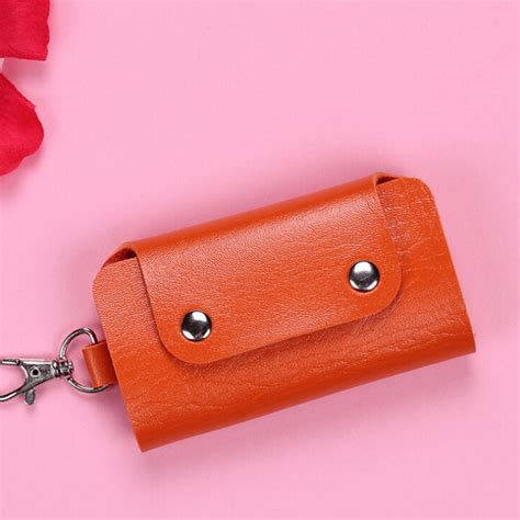 Faux Leather Key Pouch unisex key holder faux leather keychain wallet