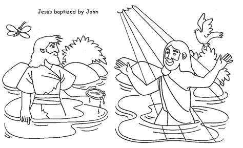 jesus baptized by john coloring page sunday school