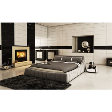 modrest b1314 modern grey white bonded leather bed