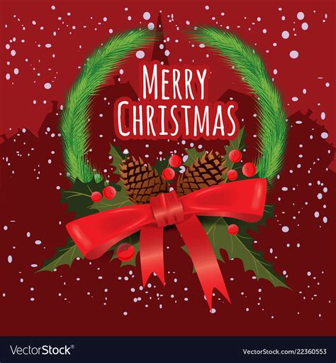 merry christmas greeting card  chrirstmas vector image
