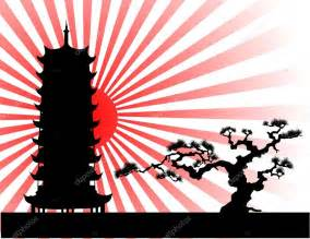 the japanese landscape silhouette vector stock vector