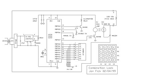 best combination lock pic16f84 circuit diagram diy