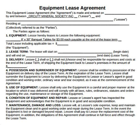 equipment lease contract template sle equipment lease agreement 11 free documents in
