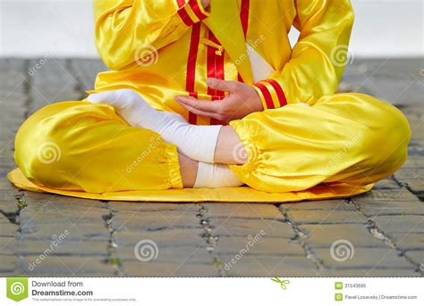 Semi Lotus Position Lower Part Of Sitting In Lotus Position Royalty