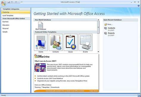 Create A Microsoft Access 2007 Database Using A Template Microsoft Access Database Templates 2007