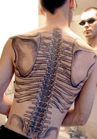 anatomy tattoo backup skeletal back tattoo
