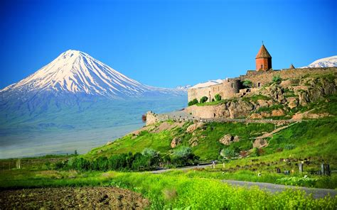 armenian fortress against the backdrop of mount ararat
