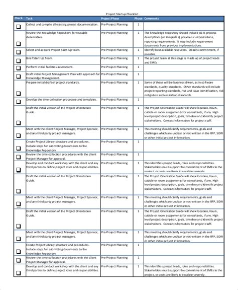 Project Startup Template 8 Sle Project Checklists Sle Templates